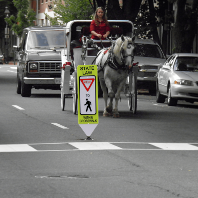 Impact Recovery Systems In-Street Stop For Pedestrian Crosswalk Sign Yield outside of Crosswalk