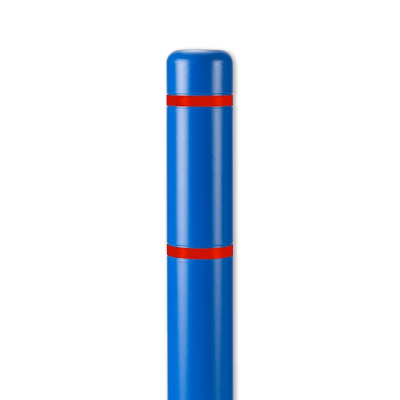 "Innoplast 4"" Blue w/ Red Reflective Stripes Bollard Cover"