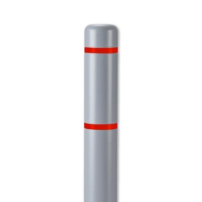 "Innoplast 4"" Gray w/ Red Reflective Stripes Bollard Cover"