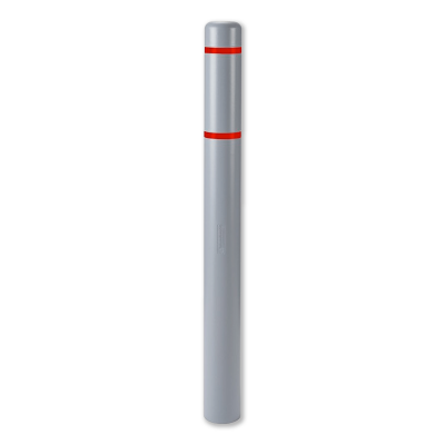"""Innoplast 4"""" Gray w/ Red Reflective Stripes Bollard Cover Full View"""