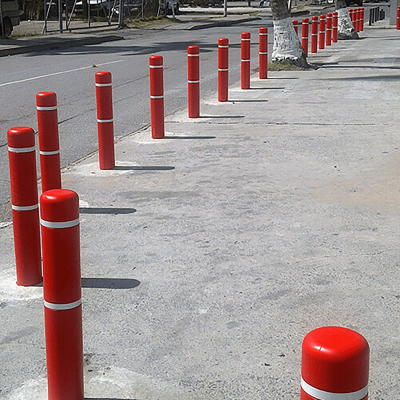 Innoplast Red Bollard Covers with Reflective Stripes