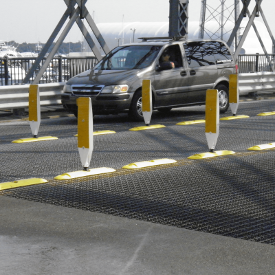 "Impact Recovery Systems 42"" Surface Mount Two Sided High Visibility Delineator Yellow on Tuff Curb XLP Channelizer Base"