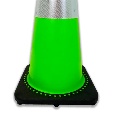 JBC Safety Plastic Lime Traffic Cone Base View angle