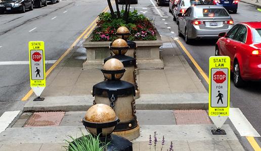 In-Street Pedestrian Crosswalk Signs